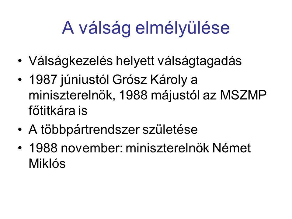 A válság elmélyülése Válságkezelés helyett válságtagadás 1987 júniustól Grósz Károly a miniszterelnök, 1988 májustól az MSZMP főtitkára is A többpártr