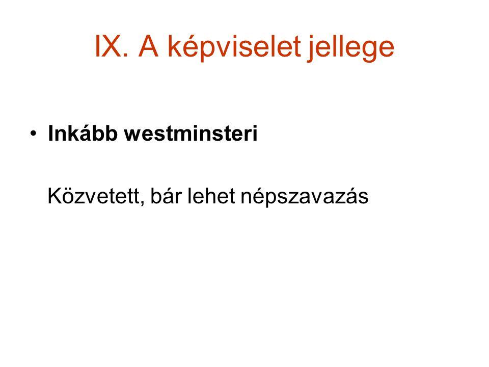 IX. A képviselet jellege Inkább westminsteri Közvetett, bár lehet népszavazás