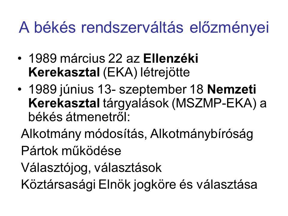 A békés rendszerváltás előzményei 1989 március 22 az Ellenzéki Kerekasztal (EKA) létrejötte 1989 június 13- szeptember 18 Nemzeti Kerekasztal tárgyalá