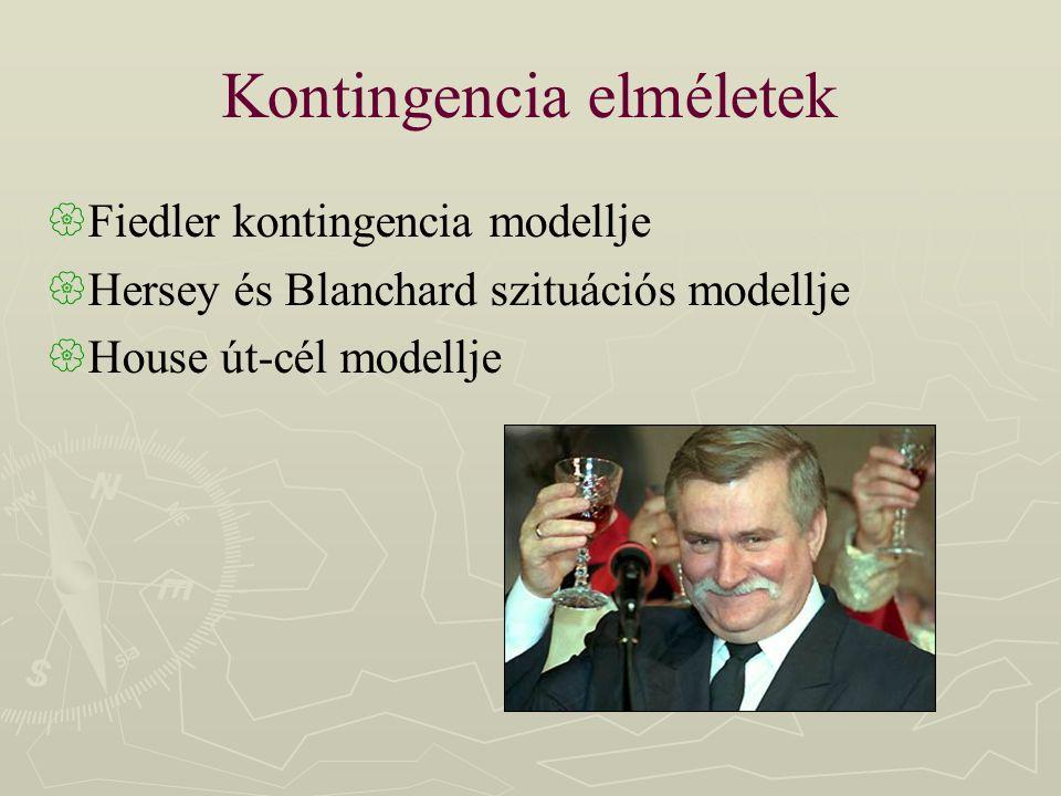 Kontingencia elméletek  Fiedler kontingencia modellje  Hersey és Blanchard szituációs modellje  House út-cél modellje