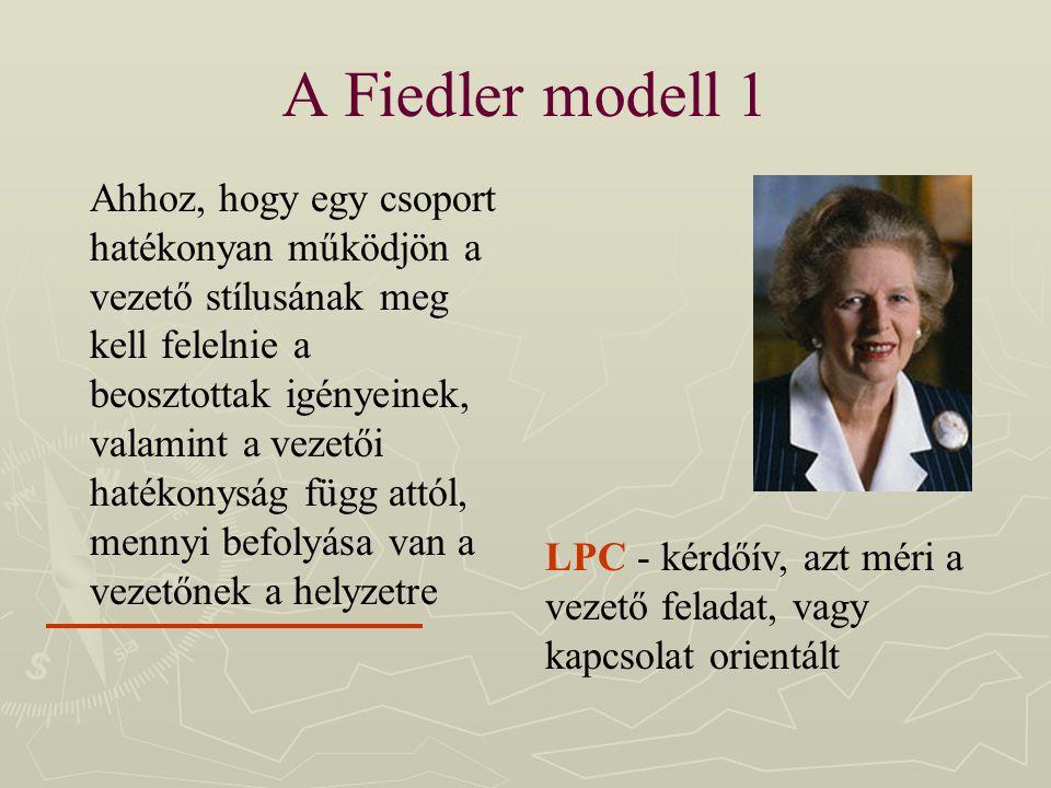A Fiedler modell 1 Ahhoz, hogy egy csoport hatékonyan működjön a vezető stílusának meg kell felelnie a beosztottak igényeinek, valamint a vezetői haté