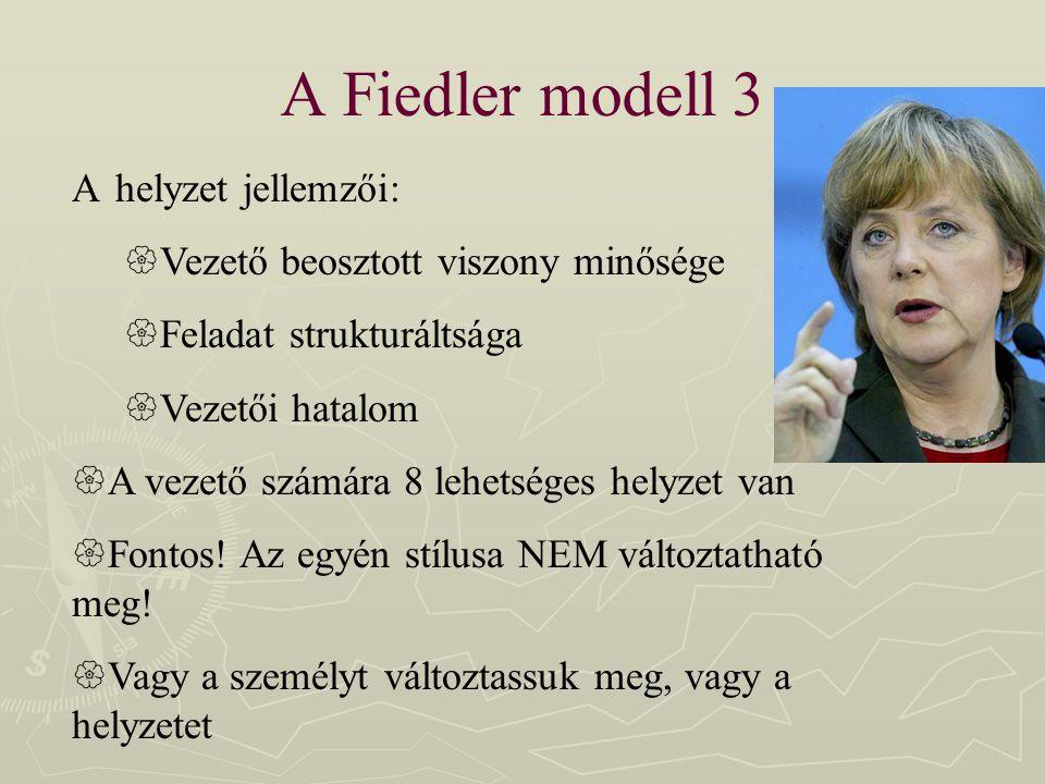 A Fiedler modell 3 A helyzet jellemzői:  Vezető beosztott viszony minősége  Feladat strukturáltsága  Vezetői hatalom  A vezető számára 8 lehetsége