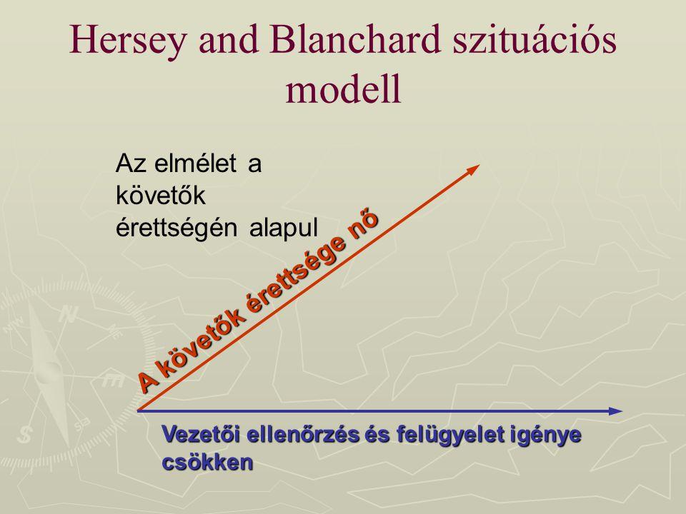 Hersey and Blanchard szituációs modell A követők érettsége nő Vezetői ellenőrzés és felügyelet igénye csökken Az elmélet a követők érettségén alapul