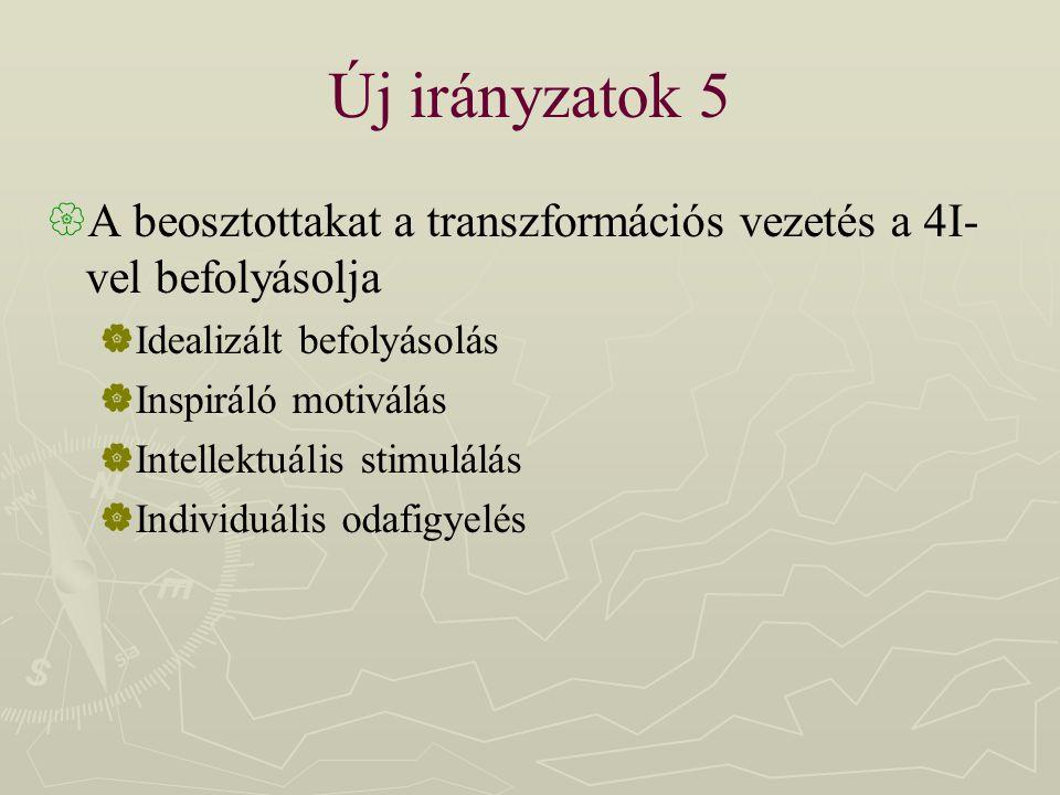 Új irányzatok 5  A beosztottakat a transzformációs vezetés a 4I- vel befolyásolja  Idealizált befolyásolás  Inspiráló motiválás  Intellektuális st
