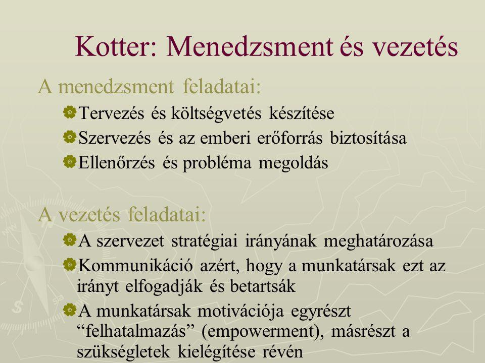 Kotter: Menedzsment és vezetés A menedzsment feladatai:  Tervezés és költségvetés készítése  Szervezés és az emberi erőforrás biztosítása  Ellenőrz