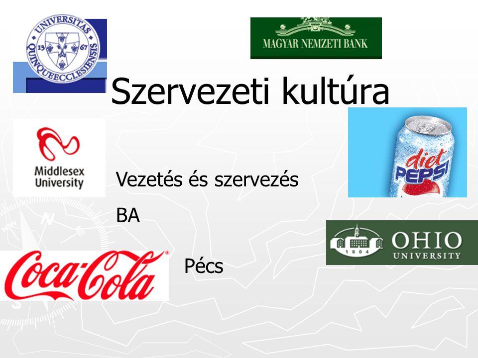 Szervezeti kultúra Vezetés és szervezés BA Pécs