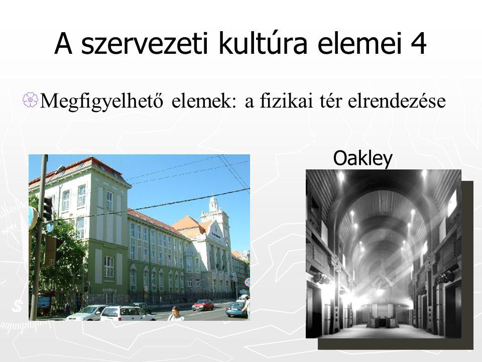 A szervezeti kultúra elemei 4  Megfigyelhető elemek: a fizikai tér elrendezése Oakley