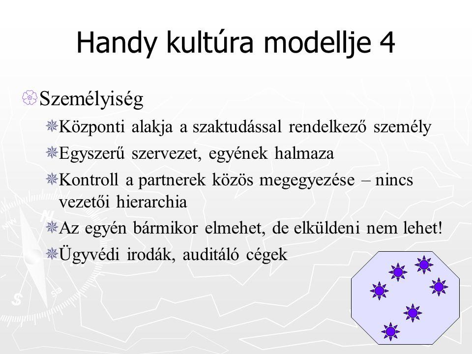 Handy kultúra modellje 4  Személyiség  Központi alakja a szaktudással rendelkező személy  Egyszerű szervezet, egyének halmaza  Kontroll a partnerek közös megegyezése – nincs vezetői hierarchia  Az egyén bármikor elmehet, de elküldeni nem lehet.