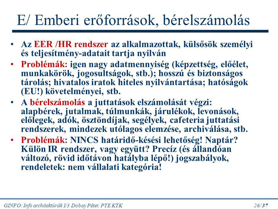 GINFO: Info architektúrák I/3 Dobay Péter, PTE KTK 26/ 37 E/ Emberi erőforrások, bérelszámolás Az EER /HR rendszer az alkalmazottak, külsősök személyi