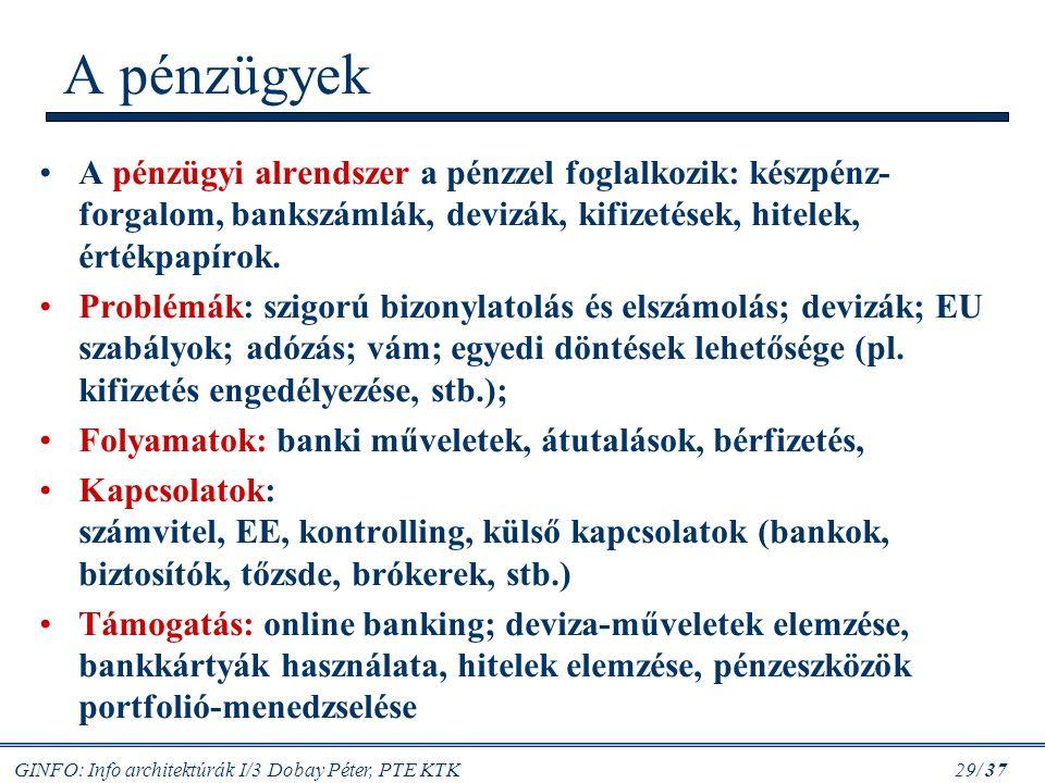 GINFO: Info architektúrák I/3 Dobay Péter, PTE KTK 29/ 37 A pénzügyek A pénzügyi alrendszer a pénzzel foglalkozik: készpénz- forgalom, bankszámlák, de