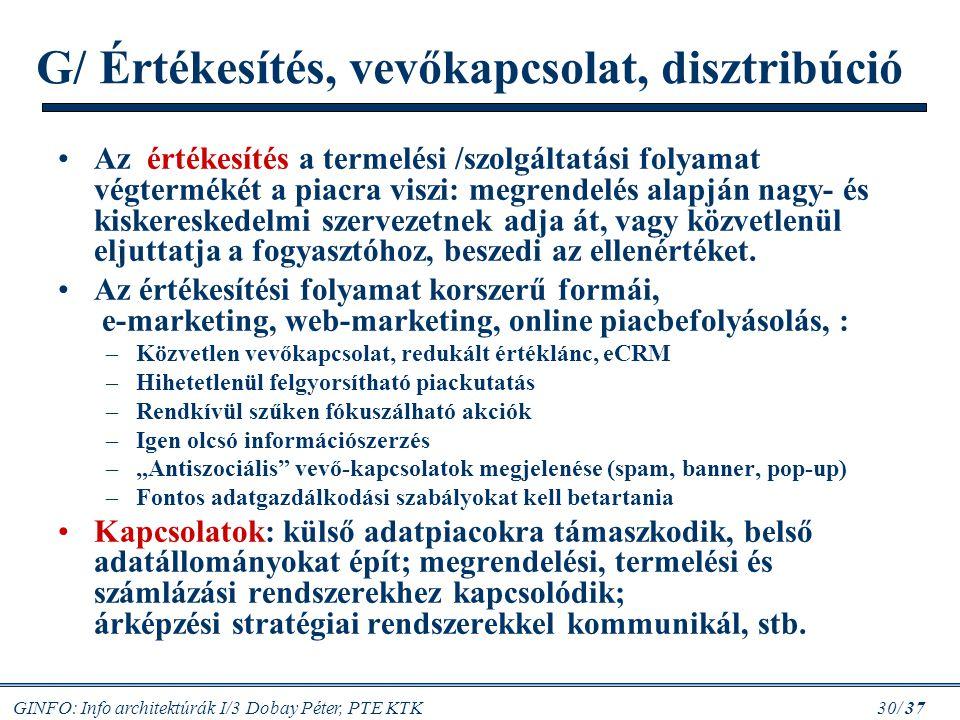 GINFO: Info architektúrák I/3 Dobay Péter, PTE KTK 30/ 37 G/ Értékesítés, vevőkapcsolat, disztribúció Az értékesítés a termelési /szolgáltatási folyam