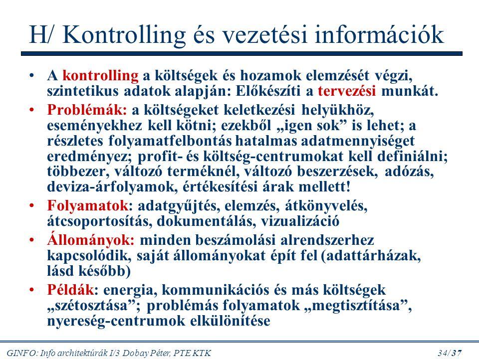GINFO: Info architektúrák I/3 Dobay Péter, PTE KTK 34/ 37 H/ Kontrolling és vezetési információk A kontrolling a költségek és hozamok elemzését végzi,