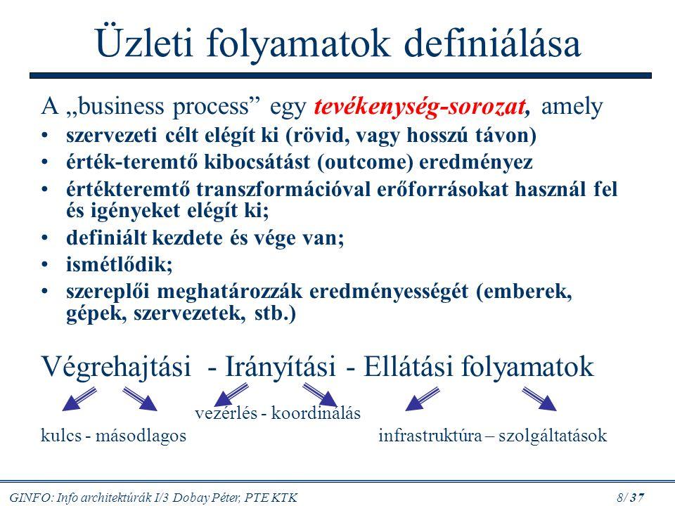 "GINFO: Info architektúrák I/3 Dobay Péter, PTE KTK 8/ 37 Üzleti folyamatok definiálása A ""business process"" egy tevékenység-sorozat, amely szervezeti"