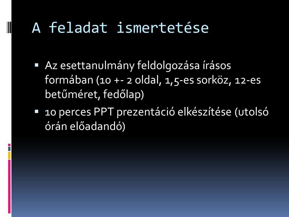 A feladat ismertetése  Az esettanulmány feldolgozása írásos formában (10 +- 2 oldal, 1,5-es sorköz, 12-es betűméret, fedőlap)  10 perces PPT prezent