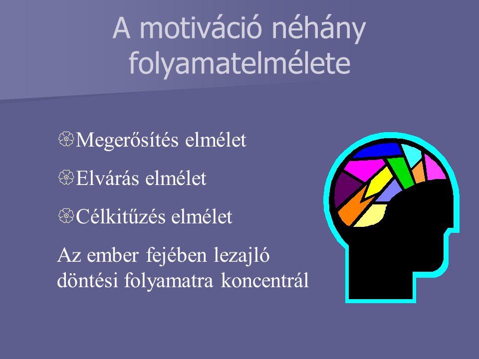 A motiváció néhány folyamatelmélete  Megerősítés elmélet  Elvárás elmélet  Célkitűzés elmélet Az ember fejében lezajló döntési folyamatra koncentrá