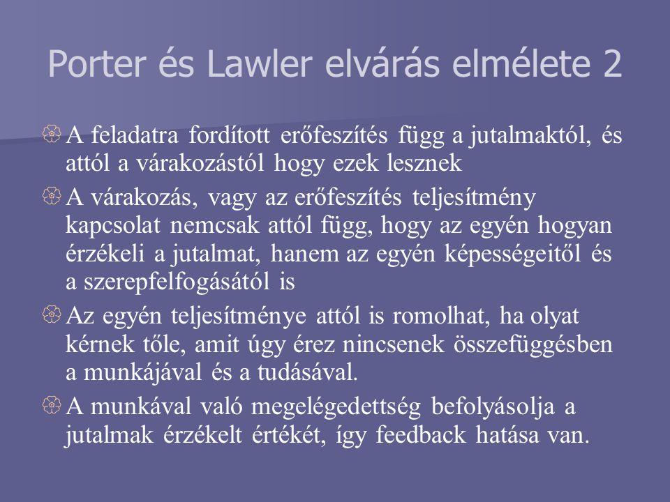 Porter és Lawler elvárás elmélete 2  A feladatra fordított erőfeszítés függ a jutalmaktól, és attól a várakozástól hogy ezek lesznek  A várakozás, v