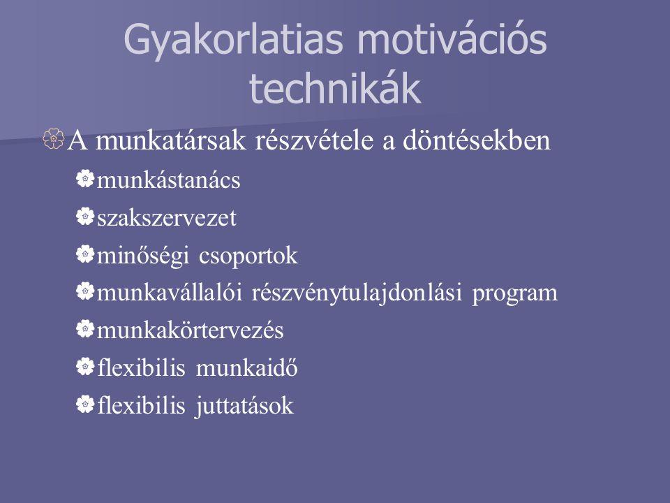 Gyakorlatias motivációs technikák  A munkatársak részvétele a döntésekben  munkástanács  szakszervezet  minőségi csoportok  munkavállalói részvén
