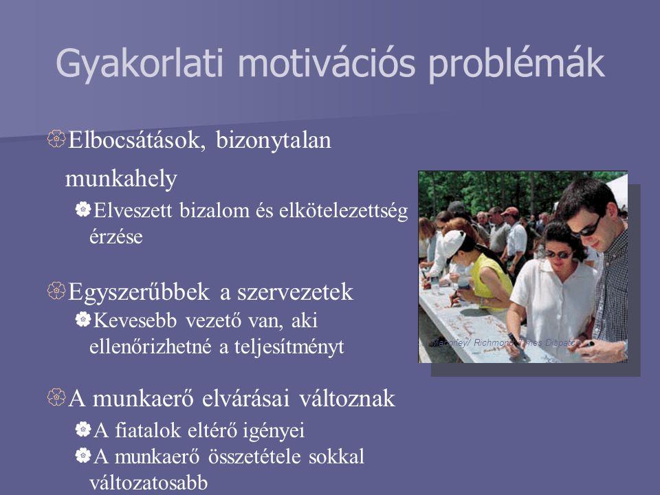 Gyakorlati motivációs problémák  Elbocsátások, bizonytalan munkahely  Elveszett bizalom és elkötelezettség érzése  Egyszerűbbek a szervezetek  Kev