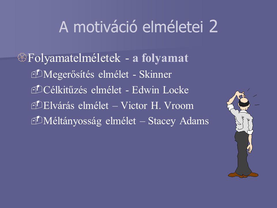 A motiváció elméletei 2  Folyamatelméletek - a folyamat  Megerősítés elmélet - Skinner  Célkitűzés elmélet - Edwin Locke  Elvárás elmélet – Victor