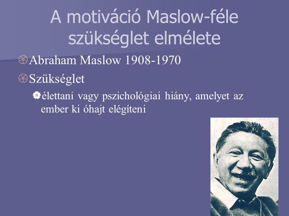 A motiváció Maslow-féle szükséglet elmélete  Abraham Maslow 1908-1970  Szükséglet  élettani vagy pszichológiai hiány, amelyet az ember ki óhajt elé