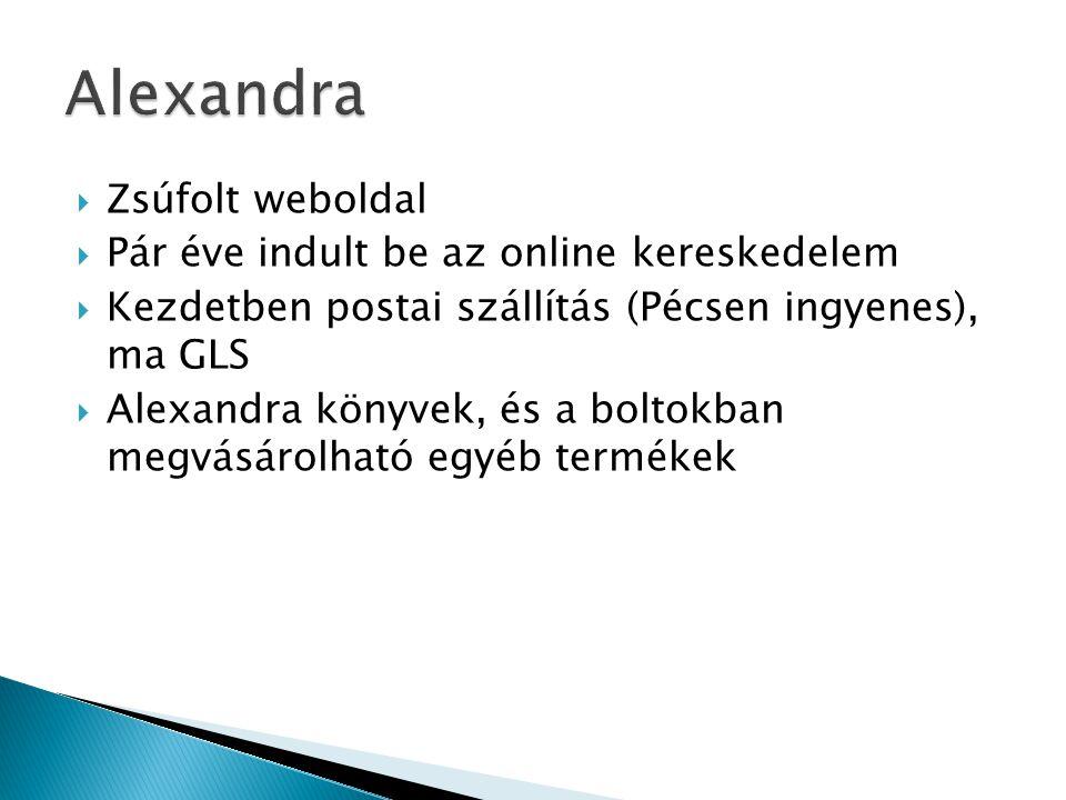  Zsúfolt weboldal  Pár éve indult be az online kereskedelem  Kezdetben postai szállítás (Pécsen ingyenes), ma GLS  Alexandra könyvek, és a boltokb