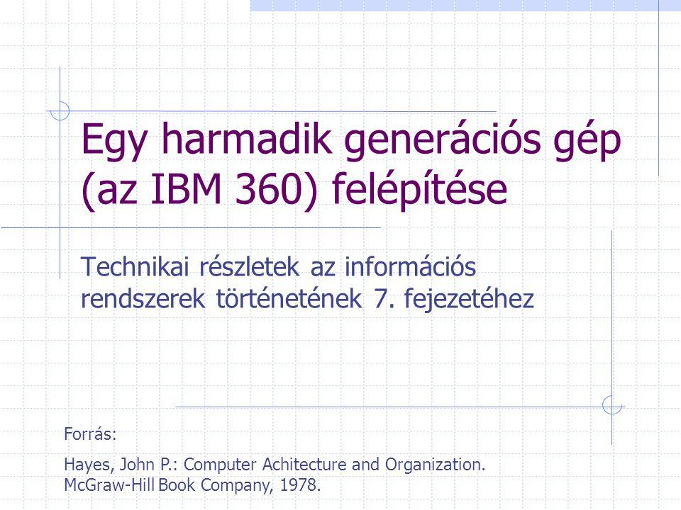 Egy harmadik generációs gép (az IBM 360) felépítése Technikai részletek az információs rendszerek történetének 7. fejezetéhez Forrás: Hayes, John P.: