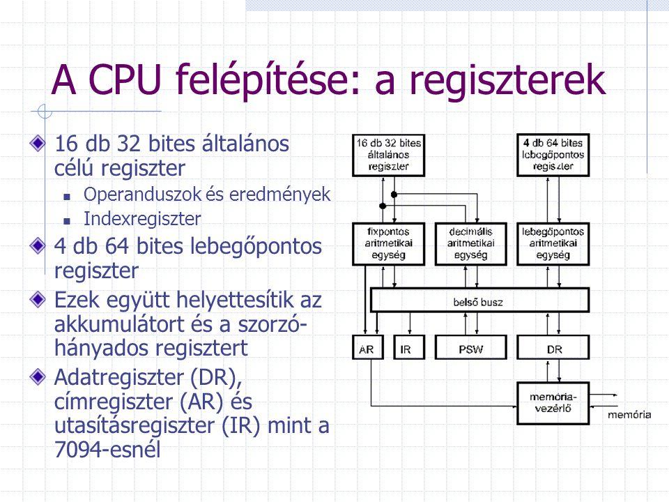 A CPU felépítése: a PSW Program Status Word Felfogható a korábbi utasításszámláló (PC) kibővítéseként is A következő utasítás címe Interrupt-maszk: a CPU milyen interruptokra reagálhat Állapotflagek (pl.
