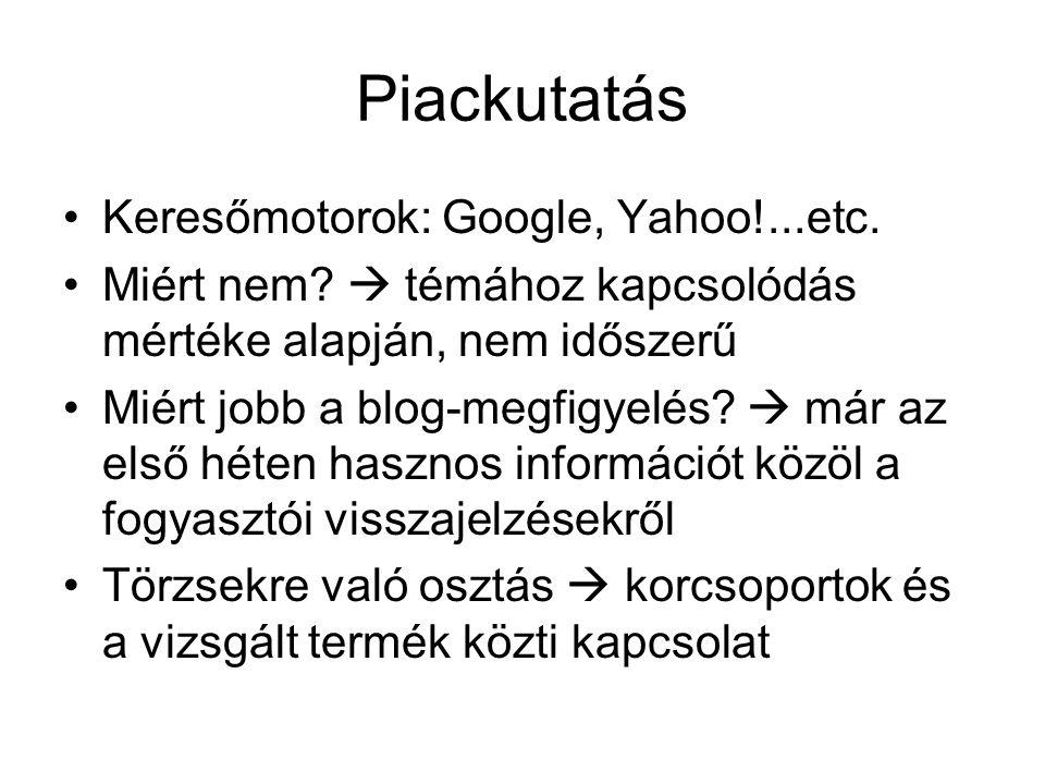 Piackutatás Keresőmotorok: Google, Yahoo!...etc. Miért nem.