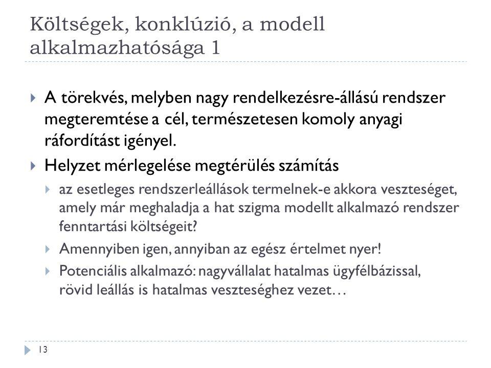 Költségek, konklúzió, a modell alkalmazhatósága 1 13  A törekvés, melyben nagy rendelkezésre-állású rendszer megteremtése a cél, természetesen komoly