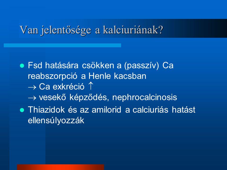 Van jelentősége a kalciuriának? Fsd hatására csökken a (passzív) Ca reabszorpció a Henle kacsban  Ca exkréció   vesekő képződés, nephrocalcinosis T