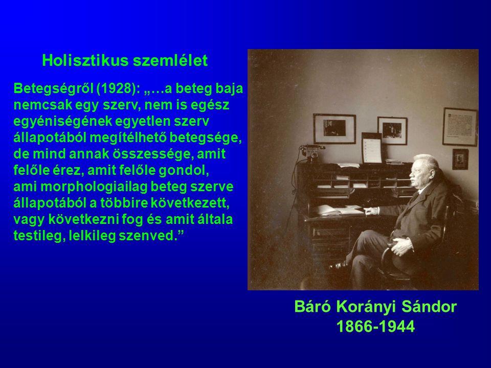 """Báró Korányi Sándor 1866-1944 Betegségről (1928): """"…a beteg baja nemcsak egy szerv, nem is egész egyéniségének egyetlen szerv állapotából megítélhető"""