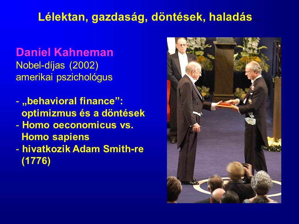 "Daniel Kahneman Nobel-díjas (2002) amerikai pszichológus - ""behavioral finance"": optimizmus és a döntések - Homo oeconomicus vs. Homo sapiens - hivatk"