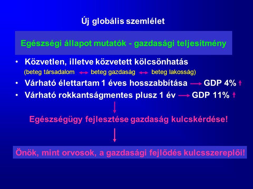 Egészségi állapot mutatók - gazdasági teljesítmény Közvetlen, illetve közvetett kölcsönhatás (beteg társadalom beteg gazdaság beteg lakosság) Várható
