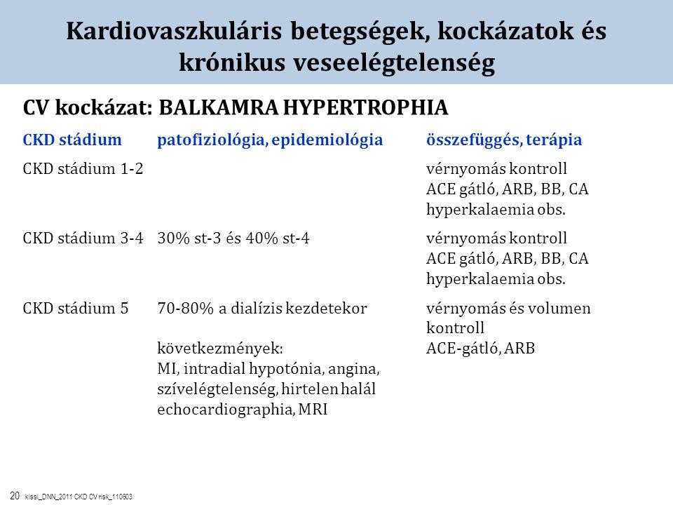 20 kissi_DNN_2011 CKD CV risk_110603 Kardiovaszkuláris betegségek, kockázatok és krónikus veseelégtelenség CV kockázat: BALKAMRA HYPERTROPHIA CKD stád