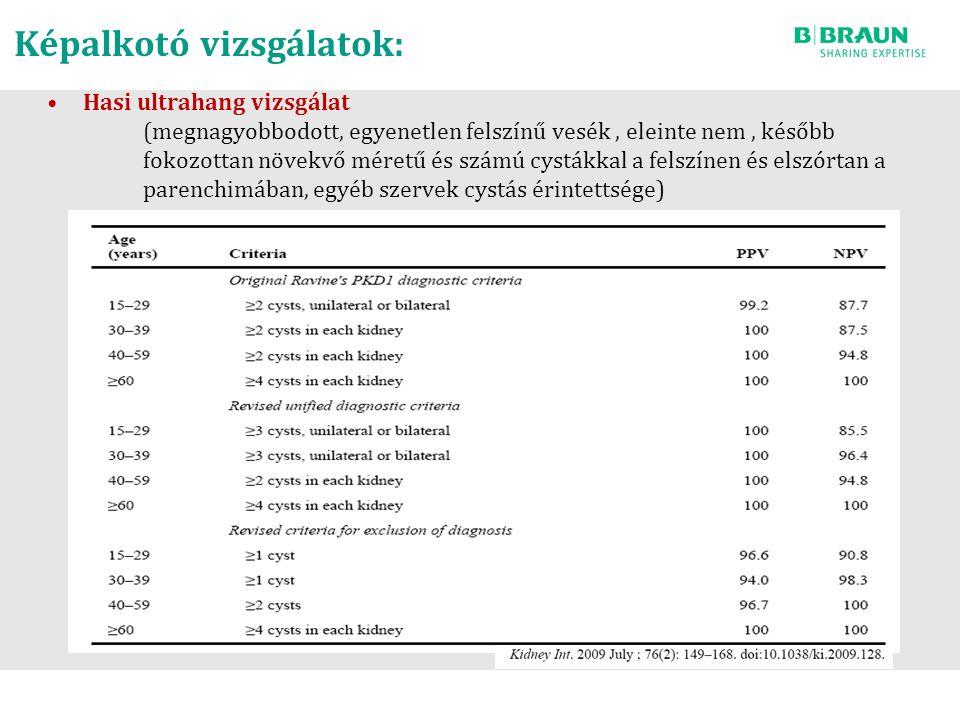 Képalkotó vizsgálatok: Hasi ultrahang vizsgálat (megnagyobbodott, egyenetlen felszínű vesék, eleinte nem, később fokozottan növekvő méretű és számú cy