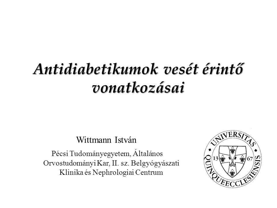 Antidiabetikumok vesét érintő vonatkozásai Wittmann István Pécsi Tudományegyetem, Általános Orvostudományi Kar, II.
