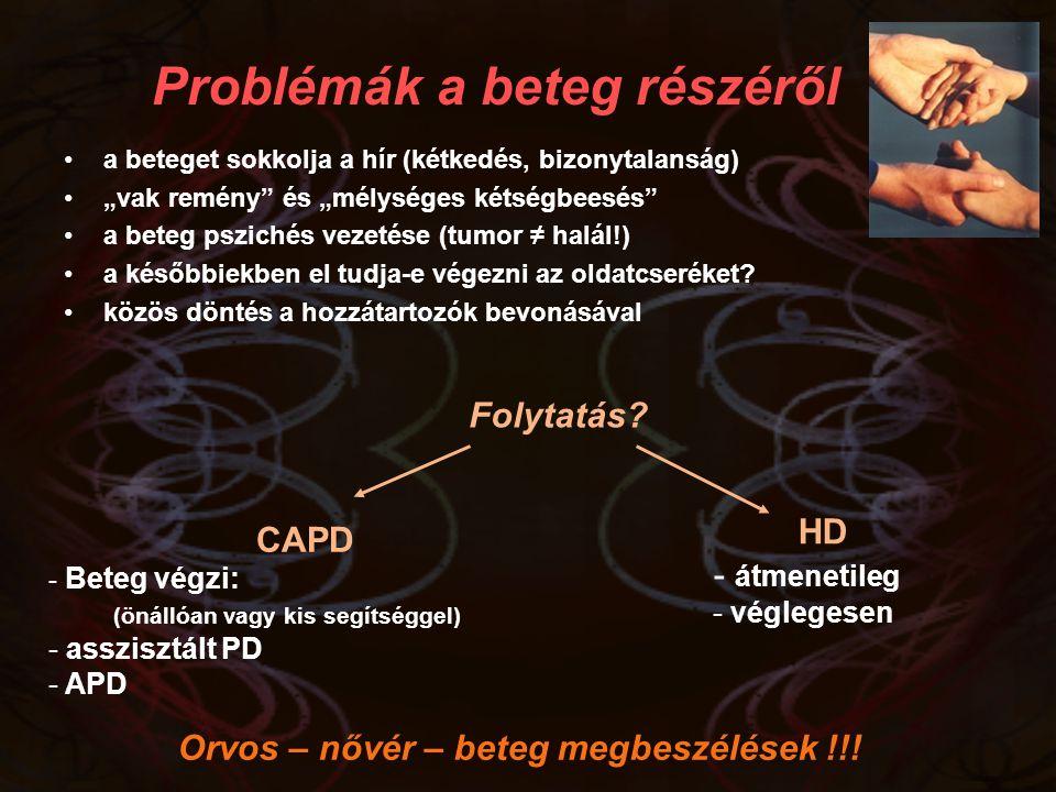"""Problémák a beteg részéről a beteget sokkolja a hír (kétkedés, bizonytalanság) """"vak remény"""" és """"mélységes kétségbeesés"""" a beteg pszichés vezetése (tum"""