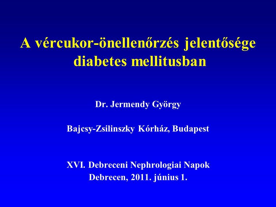 A vércukor-önellenőrzés szerepe (ADA állásfoglalás) Optimális anyagcsere-kontroll elérése és fenntartása Hypoglykaemia felismerése és elkerülése Hyperglykaemiás anyagcsere-kisiklás megelőzése A kezelés életvezetéshez, aktuális élethelyzethez történő igazítása Gesztációs diabetesben az inzulinkezelés szükségességének felismerése