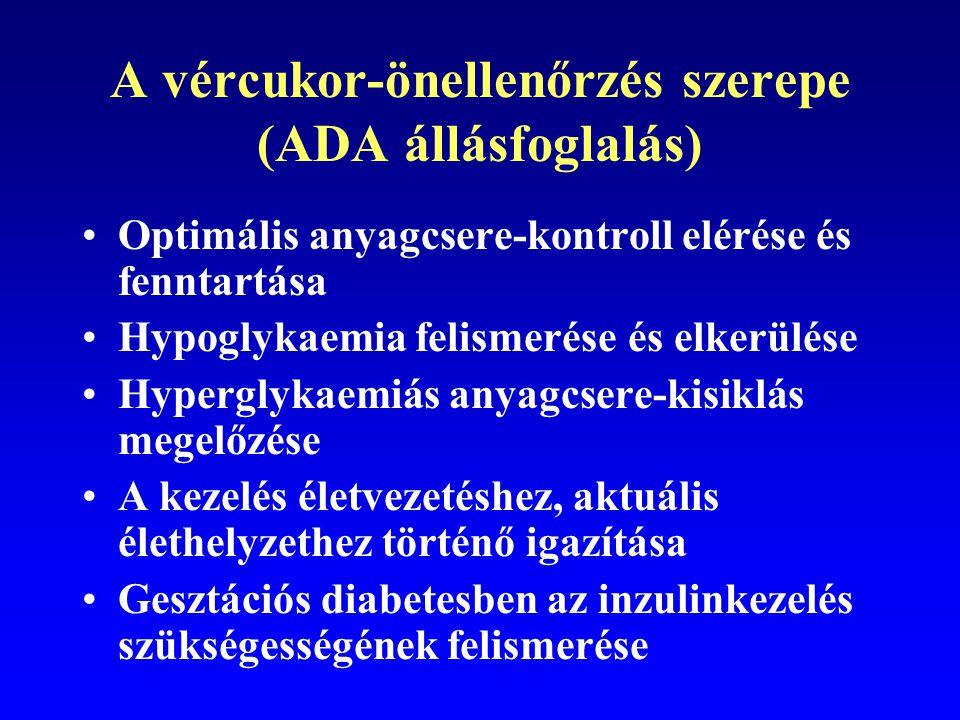 Vércukor-önellenőrzés 1-es típusú diabetesben Az ICT szerves része Előnyét az anyagcsere-helyzet javulása terén több tanulmány és meta-analízis igazolta Hazai összefoglaló munka Winkler G: Diabetologia Hungarica 2007/2.