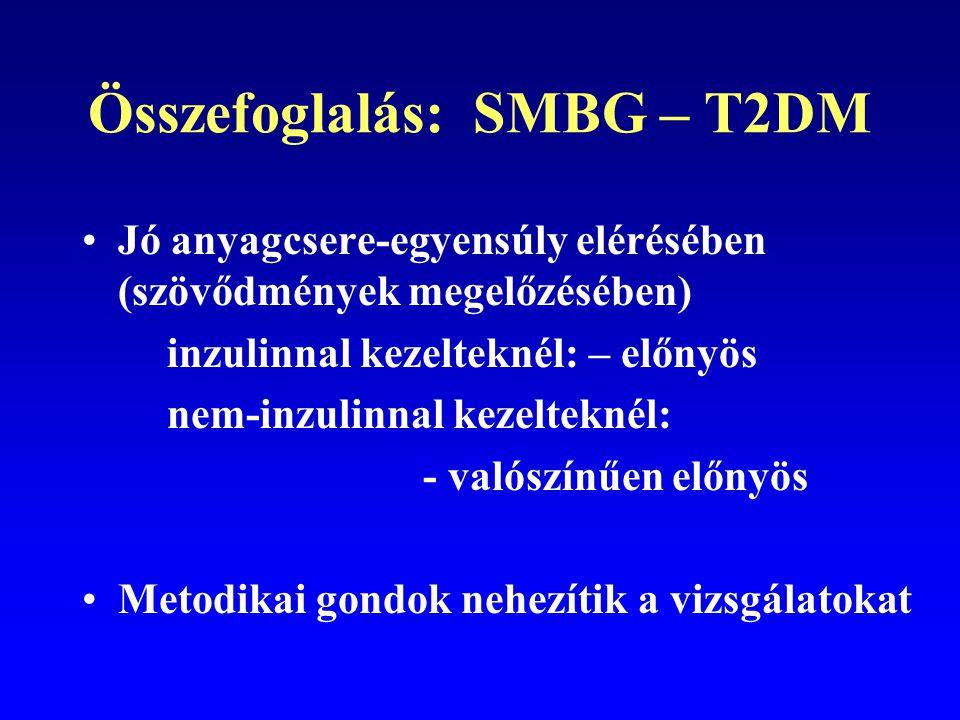 Összefoglalás: SMBG – T2DM Jó anyagcsere-egyensúly elérésében (szövődmények megelőzésében) inzulinnal kezelteknél: – előnyös nem-inzulinnal kezeltekné