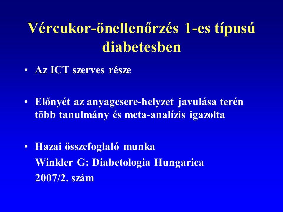 Összefoglalás: SMBG – T2DM Jó anyagcsere-egyensúly elérésében (szövődmények megelőzésében) inzulinnal kezelteknél: – előnyös nem-inzulinnal kezelteknél: - valószínűen előnyös Metodikai gondok nehezítik a vizsgálatokat