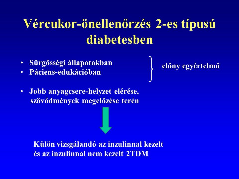 Vércukor-önellenőrzés 2-es típusú diabetesben Csak életmód-terápia OAD OAD + bedtime inzulin Kétszeri premix inzulin Prandialis premix terápia ICT