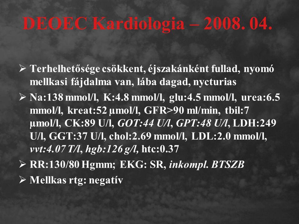 DEOEC Kardiologia – 2008. 04.  Terhelhetősége csökkent, éjszakánként fullad, nyomó mellkasi fájdalma van, lába dagad, nycturias  Na:138 mmol/l, K:4.