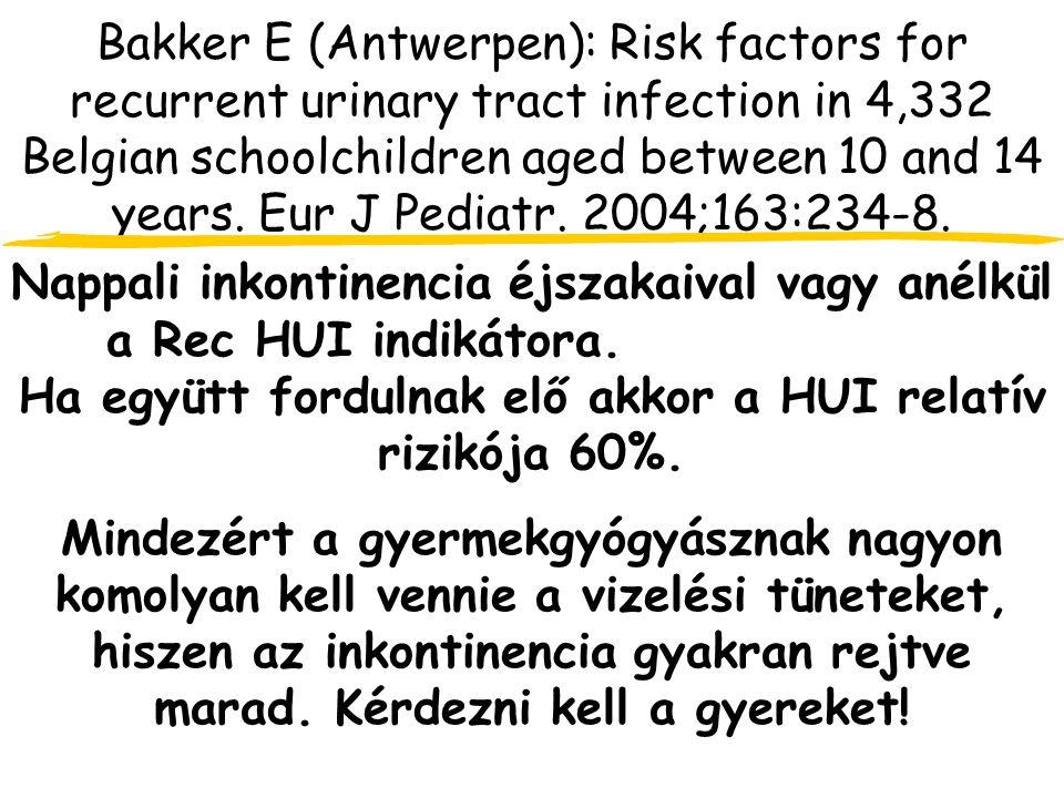 Bakker E (Antwerpen): Risk factors for recurrent urinary tract infection in 4,332 Belgian schoolchildren aged between 10 and 14 years.