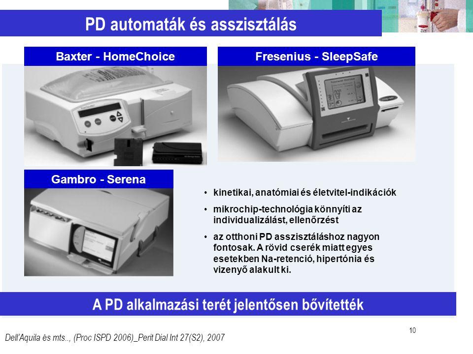 10 PD automaták és asszisztálás A PD alkalmazási terét jelentősen bővítették Dell'Aquila és mts.., (Proc ISPD 2006)_Perit Dial Int 27(S2), 2007 kineti