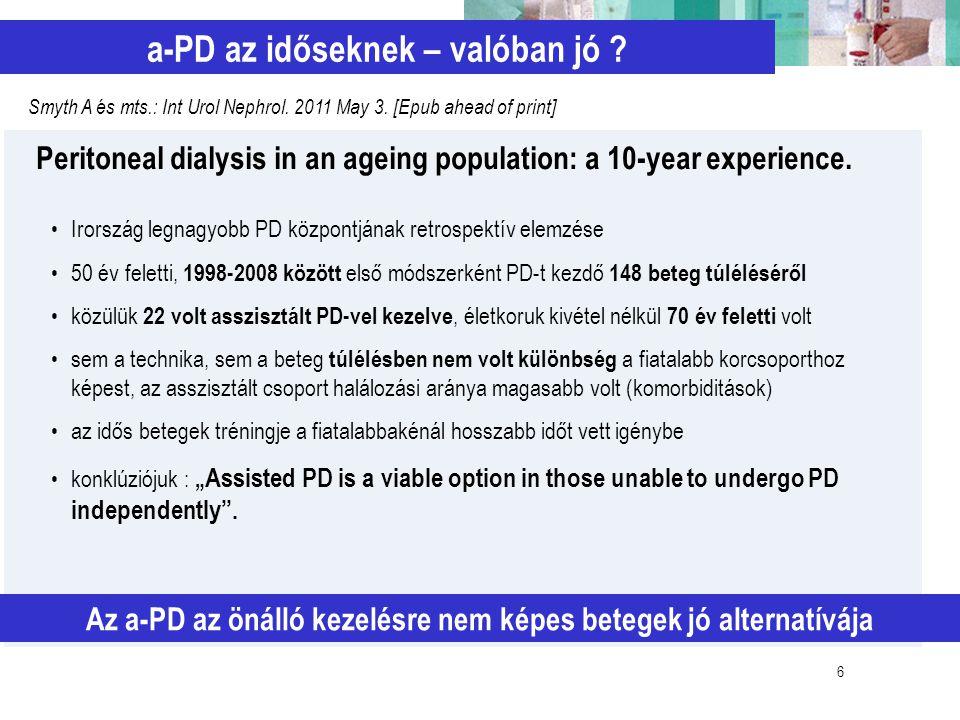 6 a-PD az időseknek – valóban jó ? Az a-PD az önálló kezelésre nem képes betegek jó alternatívája Smyth A és mts.: Int Urol Nephrol. 2011 May 3. [Epub