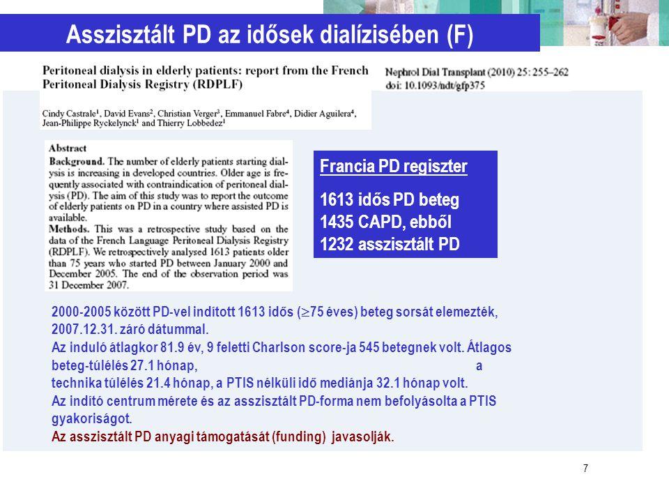 7 2000-2005 között PD-vel indított 1613 idős (  75 éves) beteg sorsát elemezték, 2007.12.31. záró dátummal. Az induló átlagkor 81.9 év, 9 feletti Cha