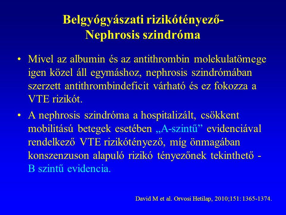 Belgyógyászati rizikótényező- Nephrosis szindróma Mivel az albumin és az antithrombin molekulatömege igen közel áll egymáshoz, nephrosis szindrómában