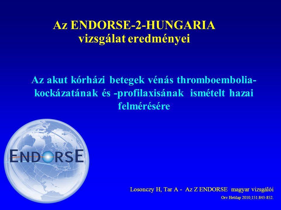 Losonczy H, Tar A - Az Z ENDORSE magyar vizsgálói Orv Hetilap 2010;151:843-852. Az ENDORSE-2-HUNGARIA vizsgálat eredményei Az akut kórházi betegek vén