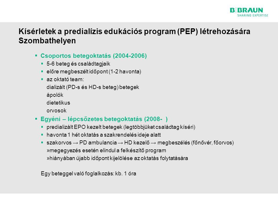Kísérletek a predialízis edukációs program (PEP) létrehozására Szombathelyen  Csoportos betegoktatás (2004-2006)  5-6 beteg és családtagjaik  előre megbeszélt időpont (1-2 havonta)  az oktató team: dializált (PD-s és HD-s beteg) betegek ápolók dietetikus orvosok  Egyéni – lépcsőzetes betegoktatás (2008- )  predializált EPO kezelt betegek (legtöbbjüket családtag kíséri)  havonta 1 hét oktatás a szakrendelés ideje alatt  szakorvos → PD ambulancia → HD kezelő → megbeszélés (főnővér, főorvos) »megegyezés esetén elindul a felkészítő program »hiányában újabb időpont kijelölése az oktatás folytatására Egy beteggel való foglalkozás: kb.